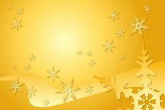 金黄雪花装饰 库存图片