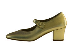 金黄鞋子 库存图片
