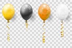 金黄飘带和气球 向量例证