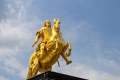 金黄马` Goldener Reiter `, 8月雕象强在德累斯顿,萨克森,德国 库存图片