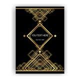 金黄黑艺术装饰的模板, A4页,菜单,卡片,邀请 皇族释放例证