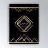 金黄黑艺术装饰的模板, A4页,菜单,卡片,邀请 向量例证
