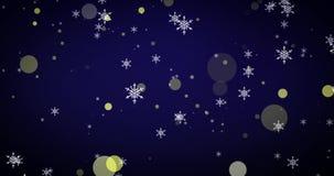 金黄,雪花和bokeh光在蓝色圣诞快乐背景 库存例证