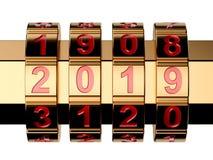 金黄2019年号码锁 向量例证