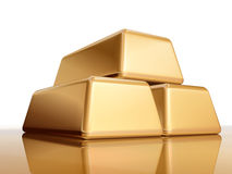 金黄2块的金块 库存照片