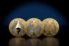 金黄Bitcoin和Ethereum铸造- 3D翻译 皇族释放例证