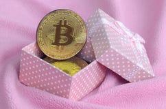 金黄bitcoin在有一把小弓的一个小桃红色礼物盒在毯子由软和蓬松浅粉红色的羊毛织品wi做成 库存照片