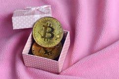 金黄bitcoin在有一把小弓的一个小桃红色礼物盒在毯子由软和蓬松浅粉红色的羊毛织品wi做成 免版税图库摄影