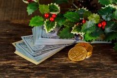 金黄bitcoin在纸美元金钱真正货币铸造 免版税库存图片