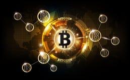 金黄bitcoin数字式货币,未来派数字式金钱,技术全世界网络概念,传染媒介例证 免版税图库摄影