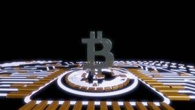 金黄bitcoin数字式货币,未来派数字式金钱,技术全世界网络概念 免版税库存图片