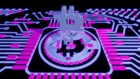 金黄bitcoin数字式货币,未来派数字式金钱,技术全世界网络概念 图库摄影
