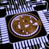 金黄bitcoin数字式货币,未来派数字式金钱,技术全世界网络概念 库存照片