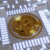 金黄bitcoin数字式货币,未来派数字式金钱,技术全世界网络概念 免版税库存照片