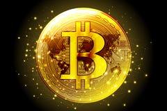 金黄bitcoin数字式cryptocurrency财政概念backgro 皇族释放例证