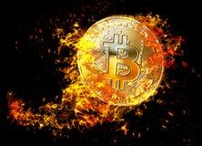 金黄bitcoin铸造在火火焰的飞行 在黑背景隔绝的燃烧的隐藏货币bitcoin标志例证 3d ren 向量例证
