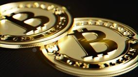 金黄Bitcoin 透镜畸变和色彩作用 3D宏指令r 免版税库存图片