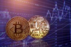 金黄Bitcoin Cryptocurrency 库存照片