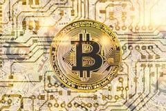 金黄bitcoyne 隐藏货币的概念 水平的顶视图特写镜头bitcoat堆金币背景纹理打印了c 免版税库存图片