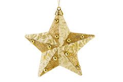 金黄Cristmas星形,查出在白色 免版税库存照片