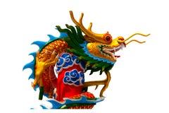 金黄gragon雕象 库存照片