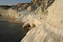 金黄scala dei turchi峭壁,阿哥里根托 免版税图库摄影