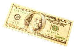 金黄一百美元钞票 库存图片