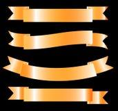金黄丝带-传染媒介设计元素 免版税图库摄影