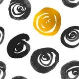 金黄传染媒介绘了形状样式,手拉的水彩刷子 免版税库存照片