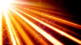 金黄光线和六角形 向量例证