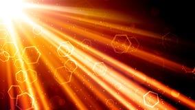 金黄光线和六角形 库存图片
