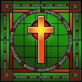 金黄十字架污迹玻璃窗 免版税图库摄影