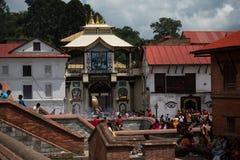 金黄印度寺庙加德满都 免版税图库摄影