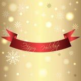金黄发光的卡片圣诞节和新年与红色丝带 库存照片
