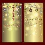金黄发光的横幅圣诞节和新年 图库摄影