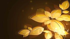 金黄叶子在风来回摆动 向量例证