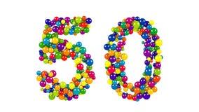 金黄周年纪念的五颜六色的动态第50 免版税库存照片