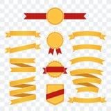金黄和红色丝带和徽章WebSet  免版税库存照片