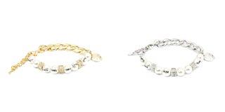 金黄和银色时尚镯子 图库摄影