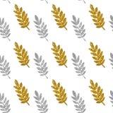 金黄和银色闪烁叶子在白色背景,无缝的样式的 免版税库存照片