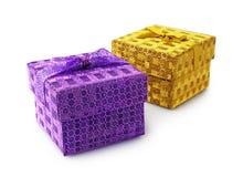 金黄和紫罗兰色礼物盒 库存图片