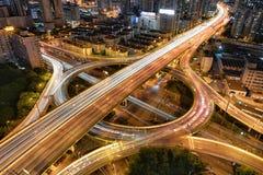 金黄圆形交通路口,上海 库存照片