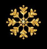 金黄圣诞快乐闪闪发光雪花 库存例证