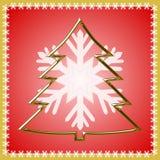 金黄圣诞树概述  免版税库存照片