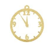 金黄在白色隔绝的圣诞节闪烁装饰时钟 免版税图库摄影