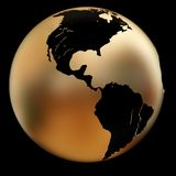 金黄地球的例证 免版税库存图片