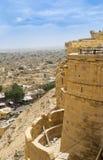 金黄堡垒和看法对Jaisalmer市 免版税库存图片