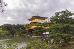 金黄寺庙亭子的日本庭院 库存图片
