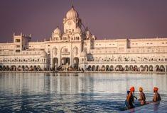 金黄寺庙的香客在印度 免版税库存照片