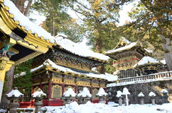 金黄寺庙雪 免版税库存图片